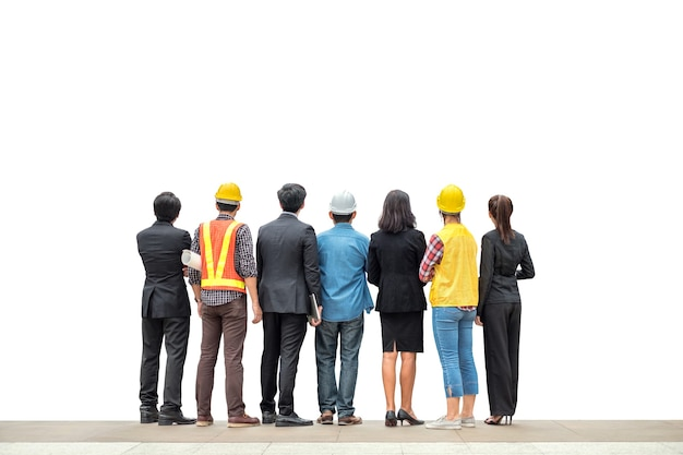 Team international business person with engineer professional rear standing on white background