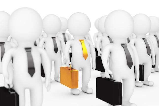 팀 리더 개념입니다. 흰색 배경에 황금색 케이스와 넥타이가 있는 많은 3d 사람. 3d 렌더링.