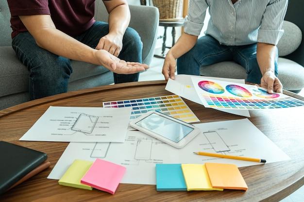 クリエイティブデザイナーの計画、描画のチーム