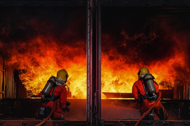 Team practice to fighting with fire in emergency situation