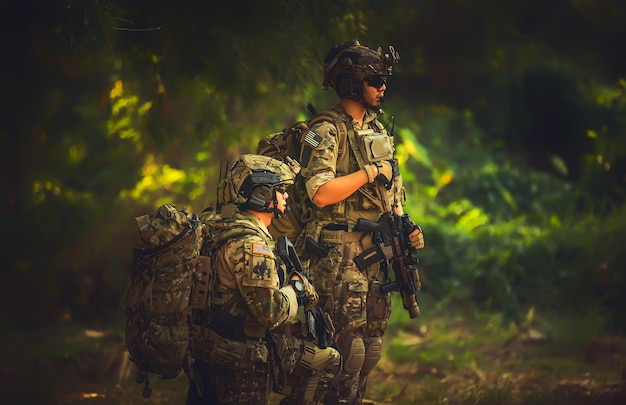 Team special forces. soldier assault rifle with silencer. sniper in the forest.