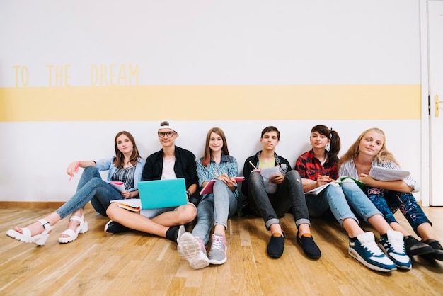 Team of students posing in class