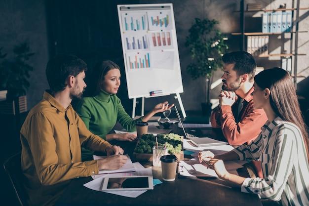 Команда с людьми, обсуждающими свои возможности соревноваться с другими корпорациями, планирующими увеличить свой доход