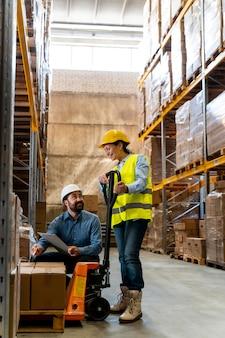 Team work employees in warehouse