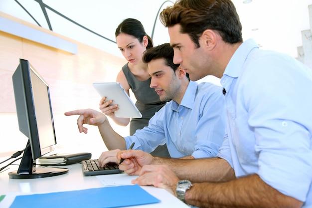 Team in work meeting