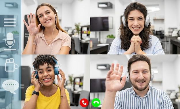 グループビデオ通話によるチーム作業、4人の多民族の若者、使いやすく快適なアプリケーション広告のコンセプト、ビデオ会議、コワーキング