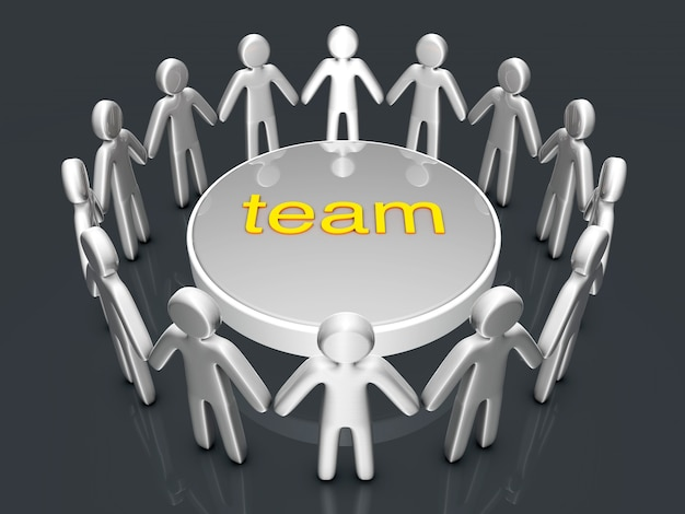 チームワーク。輪になって立っているアイコンの人々のグループ。