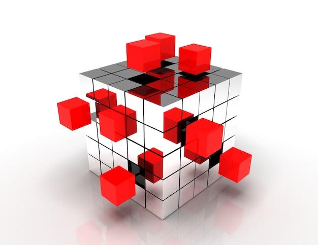 チームワークのビジネスコンセプト-ブロックから組み立てるキューブ