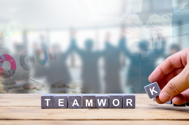 Teamwork for business successful and achivement goal