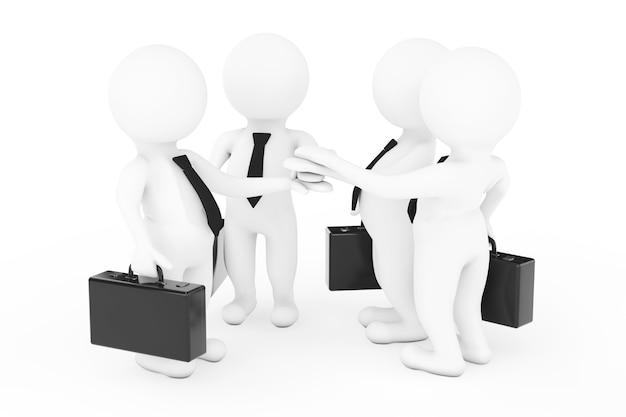 チームワークの概念。 3dビジネスマンチームは白い背景で手を結合します。 3dレンダリング