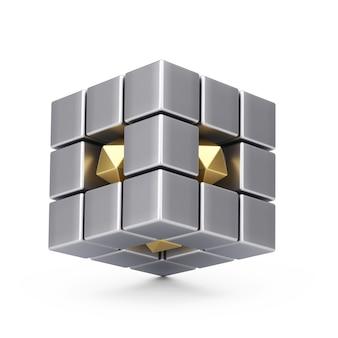 팀워크 개념입니다. 흰색 바탕에 금속 크롬 추상 큐브입니다. 3d 렌더링