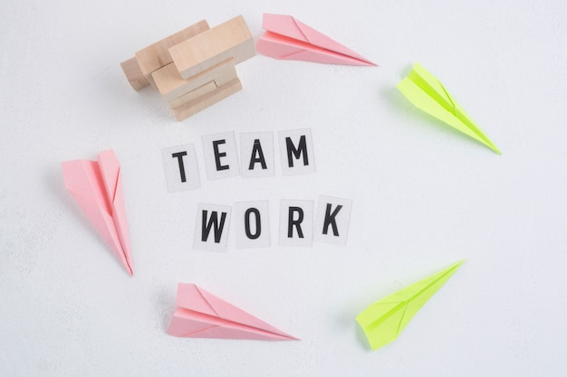 Teamwork concept with paper planes