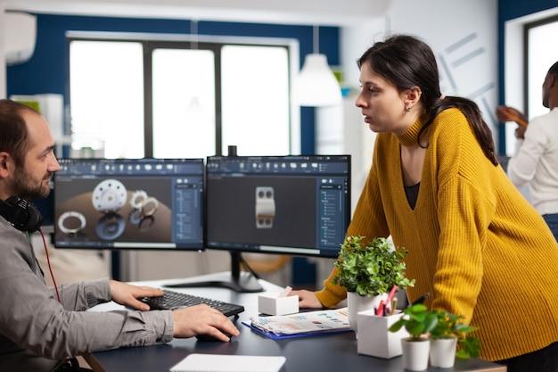 Teamwork engineer architects working on modern cad program