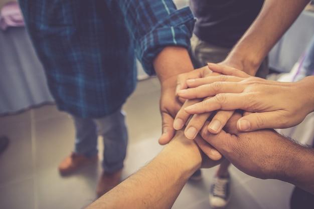 Teamwork handshake, success business working together