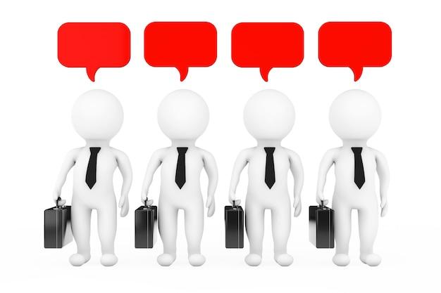 チームワークのアイデアの概念。白い背景の上のthinkbubblesを持つ3dビジネスマン。 3dレンダリング