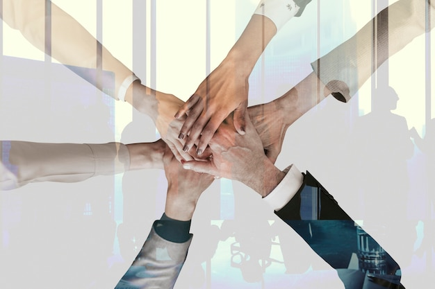 Teamwork and partnership corporate business concept