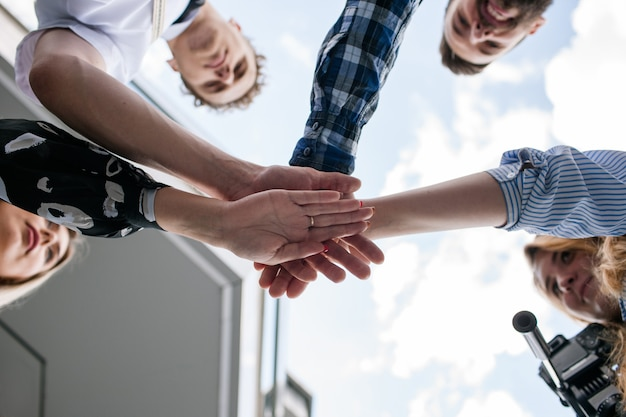 Teamwork partnership unity team building spirit motivation concept