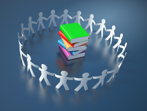 Teamwork pictogram people with books