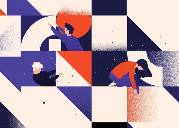 Командная работа тимбилдинг плоская иллюстрация концепция коворкинга и делового партнерства