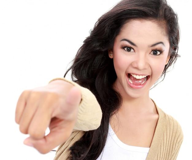 Teanager pointing her finger