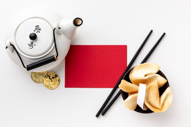 Teapot and card mock-up chinese new year