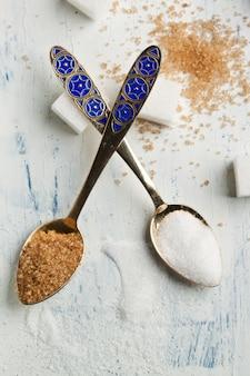 Teaspoons with sugar