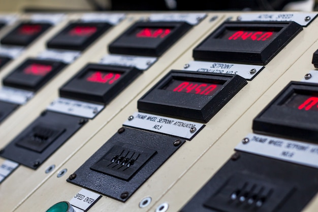 Technical display on control panel with electrical equipment devices cabinet,light