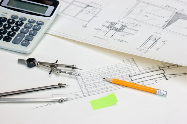 Technical drawings and a calculator