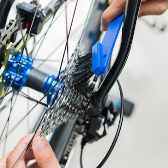Technical expertise taking care a gear bicycle shop
