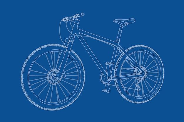 파란색 배경에 와이어 프레임 스타일 자전거 청사진의 기술 그림. 3d 렌더링
