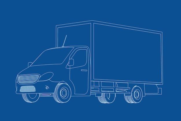 青の背景にワイヤーフレームスタイルの商用産業貨物配達バントラックの青写真のテクニカルイラスト。 3dレンダリング