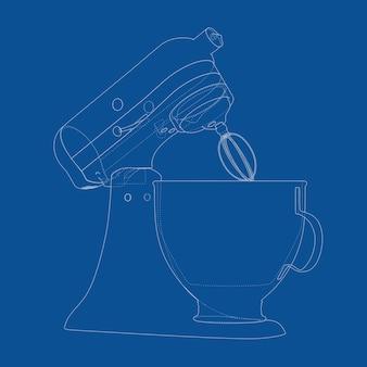 파란색 배경에 와이어 프레임 스타일 주방 스탠드 식품 믹서 청사진의 기술 그림. 3d 렌더링