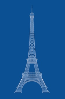 Technical illustration of wire-frame style eiffel tower blueprint on a blue background. 3d rendering