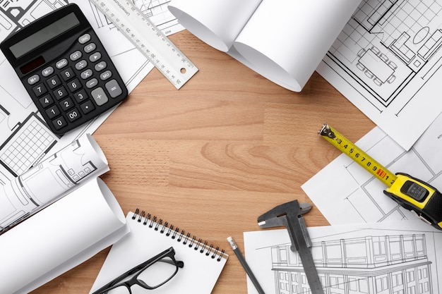 Technical plan drawing on wooden background