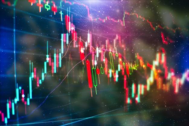 기술 가격 그래프 및 표시기, 파란색 테마 화면의 빨간색 및 녹색 촛대 차트, 시장 변동성, 상승 및 하락 추세. 주식 거래, 암호화 통화 배경입니다.