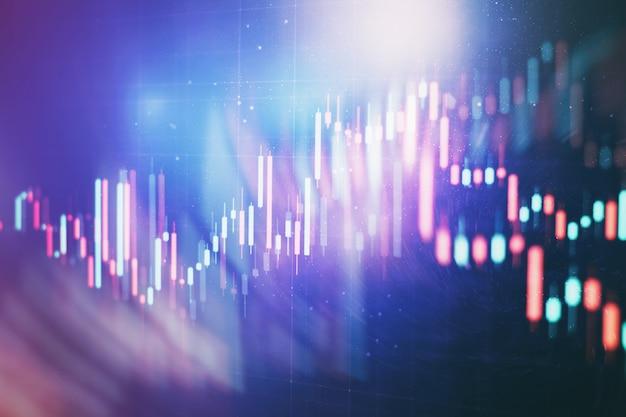 기술 가격 그래프 및 표시기, 파란색 테마 화면의 빨간색 및 녹색 촛대 차트, 시장 변동성, 상승 및 하락 추세. 주식 거래, 암호화 통화 배경