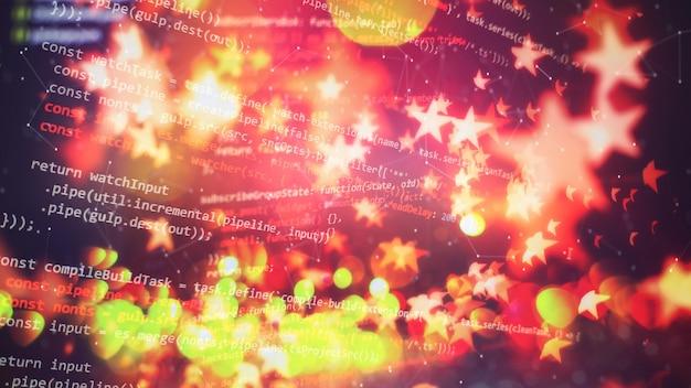 기술 가격 그래프 및 표시기, 파란색 테마 화면의 빨간색 및 녹색 촛대 차트, 시장 변동성, 상승 및 하락 추세. 주식 거래, 암호화 통화 배경입니다. 프리미엄 사진
