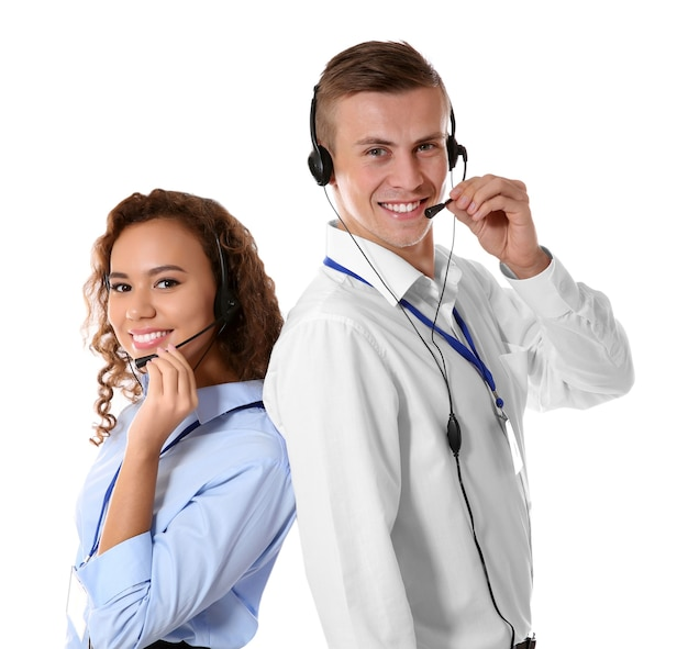 Technical support call center dispatchers on white