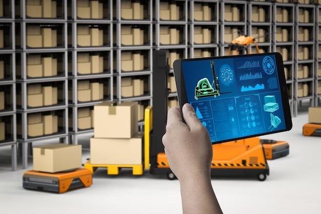 Техник контролирует роботов автоматизации 3d-рендеринга на заводе