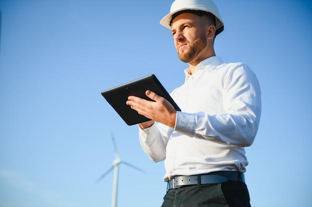 Technician engineer in wind turbine power generator station