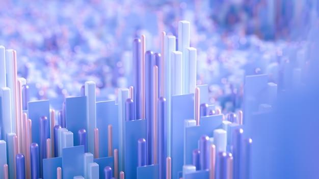 テクノハイテクの背景、幾何学、キューブ、抽象化。 3dイラスト、3dレンダリング。