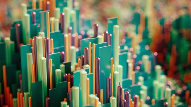 Techno high-tech background, geometry, cube, abstraction. 3d illustration, 3d rendering.