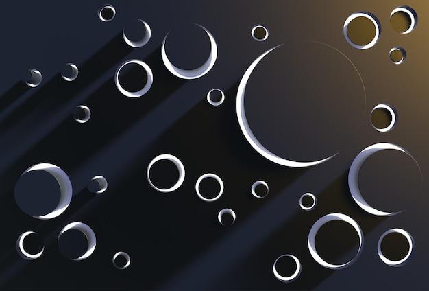 Technological backdrop 3d render illustration futuristic cylinders set on black background