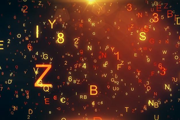 文字と数字の3 dイラストレーションを飛んで技術的背景