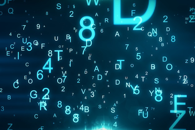 Technological background with flying letters and figures 3d illustration