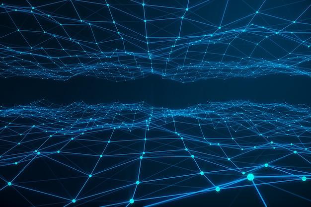 技術的な接続の未来的な形状、青いドットネットワーク、抽象的な背景、青い背景、ネットワークの概念、インターネット通信、3 dレンダリング