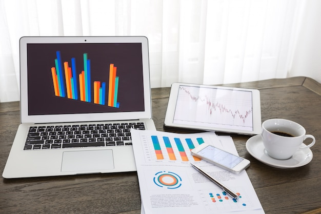 Technological devices with statistics documents