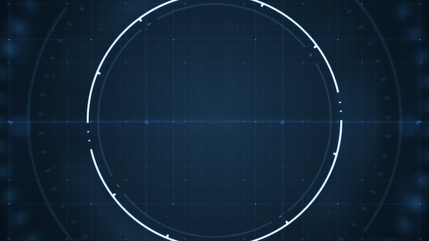 Technological future  user interface hud with spinning circles on dark blue background .
