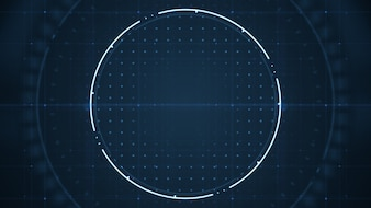 Technological future  user interface hud with spinning circles on dark blue background.
