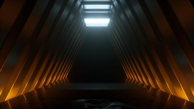 Технологический тоннель с подиумной трибуной с 3d-рендерингом теплого и холодного свечения